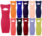 New Womens Ribbed Bodycon Dress Ladies Sexy Cut Out Sleeveless Party Sizes 8-14