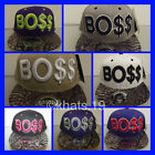 BRAND NEW FLAT PEAK VINTAGE BO$$ SNAPBACK BASEBALL CAP WITH TAGS AND STICKERS
