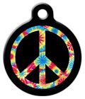 TIE DYE PEACE SYMBOL - Custom Personalized Pet ID Tag for Dog and Cat Collars