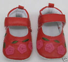 Baby Girls Red First Shoes Embroidered Floral Detail Pram 0 to 12 months 1 year