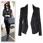 New black draped  zip trims faux leather suede contrast jacket