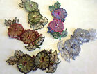 "Embroidered on SHEER 3-D APPLIQUE FLOWER SEQUINS GLASS BEADS 3X6.5"" LAYERED 1PC"