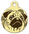 SIENNA PUG - Custom Personalized Pet ID Tag for Dog and Cat Collars