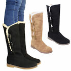 WOMENS LADIES FAUX SUEDE FUR LINED FLAT WARM KNEE CALF HIGH BOOTS SHOES SIZE