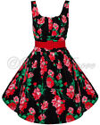 NEW VINTAGE FLORAL DRESS BLACK RETRO PARTY PROM EVENING WEDDING VOODOO VIXEN 50s