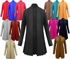 LADIES CABLE KNIT KNITTED BOYFRIEND OPEN WOMENS LONG JUMPER CARDIGAN TOP 8-14
