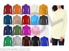Ladies Plain Long Sleeve Stretch Hi Turtle Polo Neck Top Womens T shirt 10 12 14