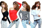 Sexy Off-the-shoulder Clubwear Tops Long Sleeves Women Basic Tee T-shirt Hot