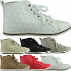 New Womens Hi Top Flat Shoes Ladies Plimsolls Lace Up Quilted Trainers Size 3-8