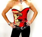 Sexy Womens Red Tattoo Ink Corset Top Punk Rock Chick Glam Gothic Fetish S M L