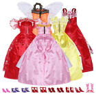 Fashion Assorted 5 Handmade Dresses + 10 Pairs Shoes For Barbie Doll Accessories
