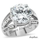 7.35 Ct Round Cut AAA CZ Stainless Steel Engagement Ring Band Women's Size 5-10