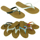Womens Sandals Cute Dressy Rhinestone Thongs Flats Summer Style Slides Flip Flop