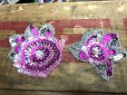 VINTAGE SHABBY CABBAGE ROSE APPLIQUES Sequins Beads 1pc (2 styles)1960's