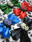 SKELETON LADY  CAMEO SKULL HAIR BOW - BLACK RED GREEN BLUE - ROCKABILLY  LOLITA
