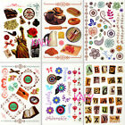 Vintage Style Rub-Ons Scrapbooking Food Alphabet Borders Frames Journey Liberty