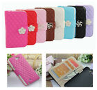 Luxury Camellia Leather Flip Wallet Stand Case for Samsung Galaxy Note2 II N7100