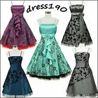 dress190 FLOCK FLORAL TATTOO 50s 60s ROCKABILLY VINTAGE PROM PARTY DRESS UK 8-26