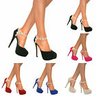 WOMENS STRAPPY GLITTER PLATFORM HIGH STILETTO COURT SHOE HEELS SANDALS SIZE 3-8