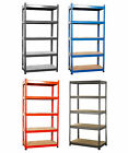 180cm Boltless 5 Tier Heavy Duty Blue Garage Storage Steel Shelving Racking New