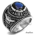 Men's Stainless Steel Simulated Sapphire US Air Force Military Ring Size 8-14