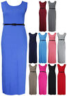 Womens Plain Sleeveless Ladies Scoop Neck Belted Long Maxi Vest Dress Plus Size