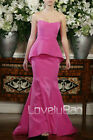 Designer Strapless Velvet Tunic Mermaid Trained Party Prom Gown Evening Dress