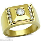 316 Stainless Steel 5mm 0.80 Ct April Clear CZ Stone Men Gold Plate Ring Sz 8-13