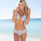 Ladies floral swimwear bikini set frill padded top lined bottom Size 8 10 12 14