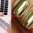 16pcs Foil Armour Nail Art Sticker Gel Nail Patch Manicure Set Golden Black B52U
