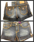 New Girls Vigoss Denim Cuffed Shorty Shorts with Bling Dark Wash U PICK SIZE