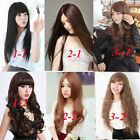 Fashion style womens brown full wigs long straight hair cosplay Party daily wear
