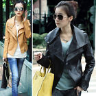Lady Faux Leather Slim Fit Biker Motorcycle Leisure Jacket Long Sleeve Coat Z344