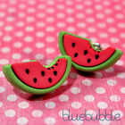 FUNKY WATERMELON STUD EARRINGS CUTE KITSCH JUNK FOOD SWEET FRUIT CANDY STYLE EMO