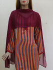 Red Lines Indian Women kurta Long sleeve soft chiffon Plus Size 52 Free Dupatta