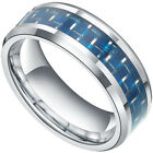 Blue Tungsten Carbon Fiber Rings Men's Womens Wedding Band Comfort Fit 8mm