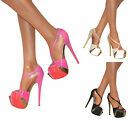 LADIES PEEP TOE PLATFORM STILETTO HIGH HEEL STRAPPY COURT SHOE PUMPS SIZE PROM