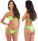 BRAZILIAN tie side BOTTOM  AND triangle TOP - swimsuit SET NEON GREEN swimwear