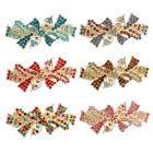 Womens Holiday Bow Tie Rhinestone Large Size Alloy Hair Clips Barrettes HC062 Be