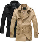 US HF1035 New Mens Fashion Casual Double Breasted Trench Slim Fit Coats Jackets
