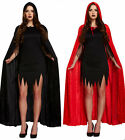 UNISEX HALLOWEEN DEVIL VAMPIRE VELVET HOODED CAPE FANCY DRESS COSTUME WOMENS MEN