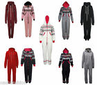 LADIES WOMENS ALL IN ONE ONESIE HOODED PLAIN JUMPSUIT S/M   M/L