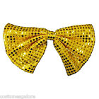 Mens Fancy Dress Costume Accessories SW Sequin Clown Bow Tie - Gold