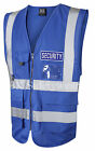 HI VIS VIZ ROYAL BLUE EXECUTIVE VEST WAISTCOAT VEST  REFLECTIVE BLUE SECURITY