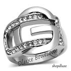Women's Girls Stainless Steel 316 Pave Crystal G Buckle Fashion Ring Size 5-10