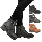 LADIES WOMENS FLAT MID BLOCK HEEL CHUNKY BIKER BUCKLE ZIP ANKLE BOOT SHOES SIZE