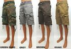 Men's CREATIVE SOUL green army grey brown khaki cargo shorts with belt A1-006