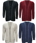 New Womens Ladies Long Sleeve Lorex Open Front Sweater Knitted Cardigan Top 8-14