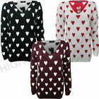 New Womens Love Heart Print Knitted Jumper Sweater Ladies Cardigans Winter 8-14