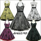 dress190 HALTER FLOCK TATTOO 50s 60s ROCKABILLY VINTAGE PROM PARTY DRESS US 6-24